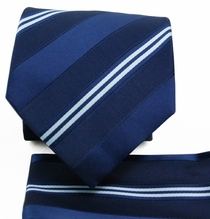 Navy Striped Tie a. Pocket Square Set (Q506-G)