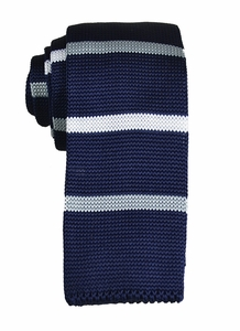 Navy, White and Grey Striped Knit Tie by Paul Malone (KN656)