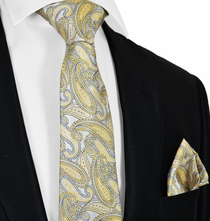 New Wheat and Grey Tie and Pocket Square Set