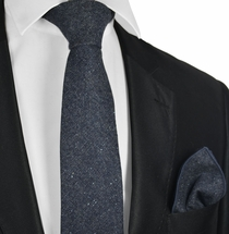 Nightshadow Blue Wool Tie Set by Paul Malone