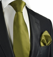 Oasis Green Checked Necktie and Pocket Square