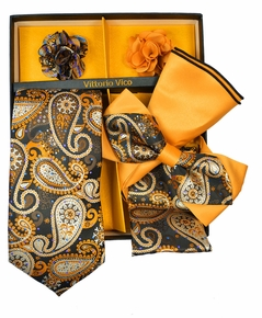 Ochre and Black Paisley Tie Set Gift Box