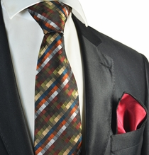 Olive Green Checked Tie with Contrast Rolled Pocket Square
