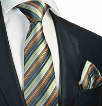 Olive Green Striped Tie and Pocket Square Set