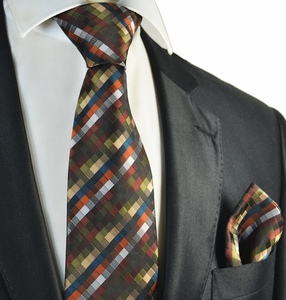 Olive Green Tie and Pocket Square Set