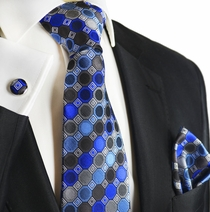 Olympian Blue Silk Tie and Square by Paul Malone
