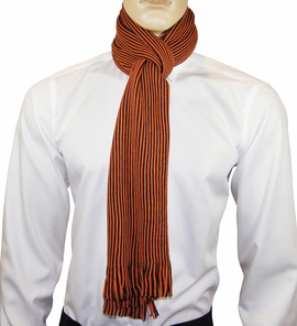Orange and Black Striped Men's Scarf by Paul Malone