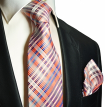 Orange and Blue Silk Tie and Pocket Square . Paul Malone
