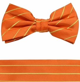 Orange and Gold Bow Tie and Pocket Square by Paul Malone (BT884H)