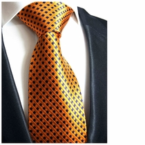Orange and Navy Paul Malone Silk Tie (310)