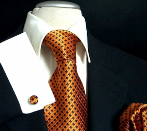 Orange and Navy Paul Malone Silk Tie Set (310CH)