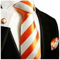 Orange and White Block Striped Silk Tie Set by Paul Malone