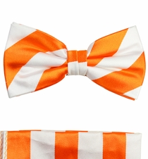 Orange and White Silk Bow Tie Set by Paul Malone