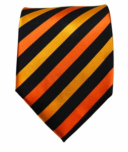 Orange & Black Striped Paul Malone Silk Tie (883)