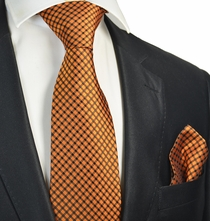 Orange Checked Tie and Pocket Square Set
