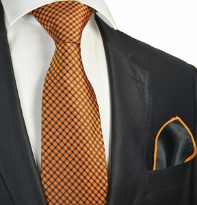 Orange Checked Tie with Contrast Rolled Pocket Square Set