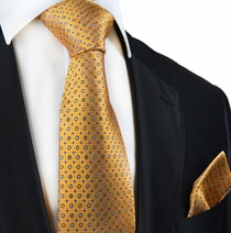 Orange Polka Dots Silk Tie and Pocket Square by Paul Malone