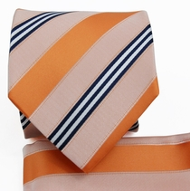 Orange Striped Necktie a. Pocket Square Set (Q506-N)