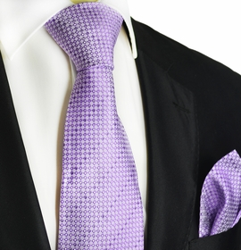 Orchid Petal Silk Tie and Pocket Square by Paul Malone