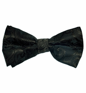 Paisley Brown Bow Tie . Pretied or Self-tie (BT20-Q)