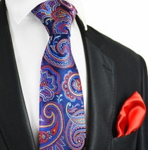 Palace Blue Paisley 7-fold Silk Tie and Pocket Square by Paul Malone