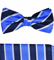 Paul Malone Silk Bow Tie and Pocket Square Set . Blue, Navy and White Stripes