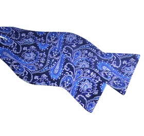 Paul Malone Silk Bow Tie . Blue Paisleys