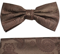 Paul Malone Bow Tie and Pocket Square Set .  Brown Paisley  . 100% Silk (BT920H )