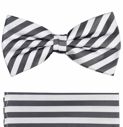 Paul Malone Bow Tie and Pocket Square Set . Charcoal and White Stripes . 100% Silk (BT112H)