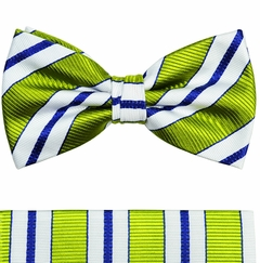 Paul Malone Bow Tie and Pocket Square Set . Green, White and Navy Stripes . 100% Silk (BT103H)