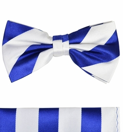 Paul Malone Bow Tie and Pocket Square Set . Navy and White . 100% Silk (BT405H)