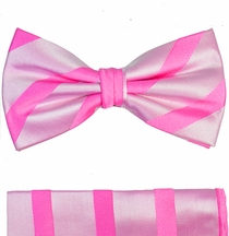 Paul Malone Bow Tie and Pocket Square Set . Pink Stripes . 100% Silk (BT092H)