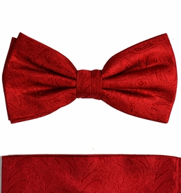 Paul Malone Bow Tie and Pocket Square Set . Red Paisley . 100% Silk (BT541H)