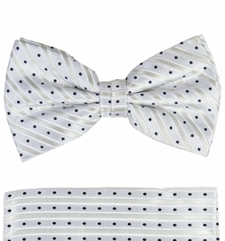Paul Malone Bow Tie and Pocket Square Set . Silver and Black . 100% Silk (BT423H)