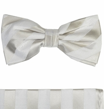 Paul Malone Bow Tie and Pocket Square Set . Silver-White . 100% Silk (BT401H)