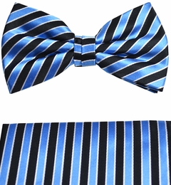 Paul Malone Bow Tie and Pocket Square Set . Turquoise Stripes . 100% Silk (BT831H)