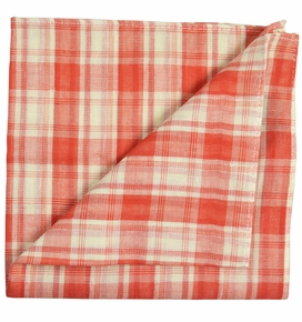 Paul Malone Pocket Square , Cotton/Linen Blend . Burnt Red
