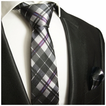 Paul Malone Silk Necktie and Pocket Square . Black, White and Purple Plaid (990H)