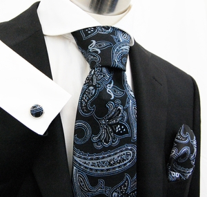 Paul Malone Silk Necktie Set . Black with Blue and Silver Paisleys