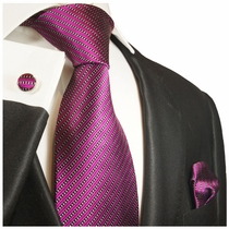 Paul Malone Silk Necktie Set . 100% Silk . Purple and Black (995CH)