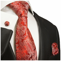 Paul Malone Silk Necktie Set with Red & White Tribal Pattern (926CH)
