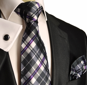 Paul Malone Silk Necktie Set . Black & Purple (990CH)