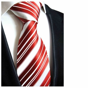 Paul Malone Silk Tie in Red and White (445)