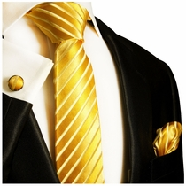 Paul Malone Silk Tie Set - Gold (681CH)