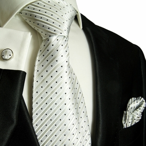 Paul Malone Silk Tie Set, Silver & Black (423CH)
