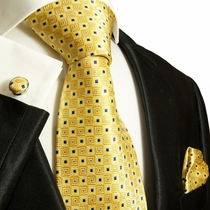 Paul Malone Silk Tie Set - Yellow & Blue (689CH)