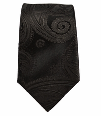 Paul Malone Slim Necktie . 2.25in. Slim . Black Paisley