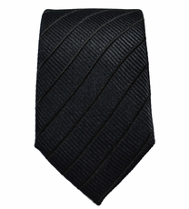 Paul Malone SLIM TIE . 2.5' wide . 100% Silk . Black (Slim475)