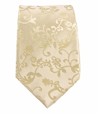 Paul Malone SLIM TIE . 2.25in. wide . 100% Silk . Ivory Vines