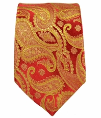 Paul Malone SLIM TIE . 2.5' wide . 100% Silk . Red and Gold Paisley